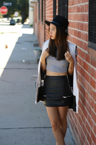 Day (334). Leather skirt and Peach Box Accessories